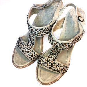 Frye Joy Vintage Slingback Studded Heels - Ivory